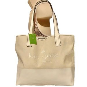🌻 KATE SPADE 🌻 TRIPLE COMPARTMENT TOTE NATURAL